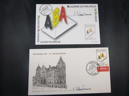 """BELG.2006 3553 FDC + Mcard : """"Académie De Philatélie De Belgique, 40 ème Annive"""" : Signé JEAN LIBERT (ontwerper Kaart )"""" - FDC"""