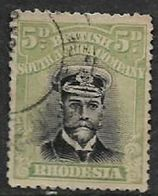 Rhodesia, B.S.A.Co.,  GVR, 1913, Admiral, 5d, Black & Pale Green, Die III, Perf 14, Used - Rhodésie Du Sud (...-1964)