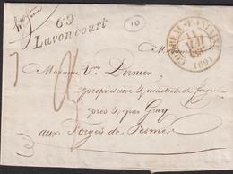 LETTRE DE LA HAUTE-SAONE AVEC CURSIVE DE LAVONCOURT LAC 1831 TB - Storia Postale