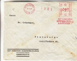 Danemark - Lettre De 1927 - Oblit Kobenhavn - Exp Vers Flensburg - EMA - Empreintes Machines - - Affrancature Meccaniche Rosse (EMA)