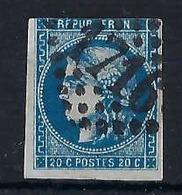 FRANCE 1870:  20 C. Bleu Cérès ND  (Y&T 46B), Oblitéré GC - 1870 Uitgave Van Bordeaux