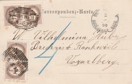Autriche Cachet Rankweil Sur Carte Postale Budweis 1899 - 1850-1918 Imperio