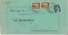 OME BRESCIA - PADERNO 2-11-42 LETTERA COMUNALE IMPERIALE CENT 5 X 2 + CENT 15 - Storia Postale