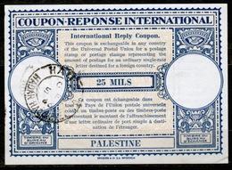 PALESTINE Lo14 25 MILS International Reply Coupon Reponse Antwortschein IAS IRC O HAIFA HADAR HACARMEL 5.2.46 - Palästina