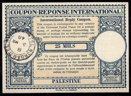 PALESTINE Lo14 25 MILS International Reply Coupon Reponse Antwortschein IAS IRC O TEL NORDAU TEL AVIV 03.03.48 - Palästina