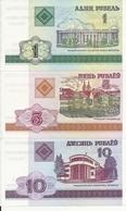 BIELORUSSIE 1-5-10 RUBLE 2000 UNC P 21-22-23 ( 3 Billets ) - Belarus