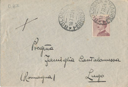 BOLOGNA - LUGO 10-7-27 LETTERA MICHETTI CENT 20 - 1900-44 Vittorio Emanuele III