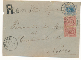 1900 SARDEGNA ORUNE  CERCHIO GRANDE RACCOMANDATA UMBERTO 0,25+2X0,10 - Storia Postale