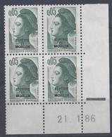 ST-PIERRE MIQUELON - LIBERTE N° 455 - Bloc De 4 COIN DATE - NEUF** - 21-1-86 (2) - Unused Stamps