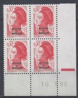 ST-PIERRE MIQUELON - LIBERTE N° 458 - Bloc De 4 COIN DATE - NEUF** - 10-1-86 - Unused Stamps