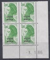 ST-PIERRE MIQUELON - LIBERTE N° 462 - Bloc De 4 COIN DATE - NEUF** - 3-1-86 - Unused Stamps