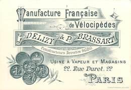 PARIS 16 Eme-manufacture De Vélocipèdes DELIZY Et P.BRASSARD 22 Rue Duret - Distretto: 16