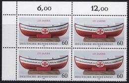 """BRD, 1990 Nr. 1465 **,  Viererblock Mit Eckrand Oben Links, """"Deutsche Gesellschaft Zur Rettung Schiffbrüchiger"""" - Nuovi"""