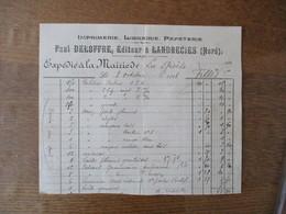 LANDRECIES NORD  PAUL DELOFFRE IMPRIMERIE LIBRAIRIE PAPETERIE FACTURE DU 3 OCTOBRE 1908 - France