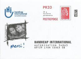 """PRET A POSTER REPONSE - Postréponse """" Handicap International """" Rep. Marianne L'Engagée Prio (Lot 234776) - Entiers Postaux"""