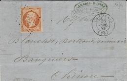1859- Lettre De  LANGEAIS ( Indre Et Loire ) Cad T15 Affr. N°16 ( 4 Marges ) Oblit. P C  1636 - Postmark Collection (Covers)