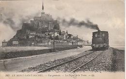 20 / 1 / 366  - LE  MONT   ST. - MICHEL  ( 50 )  LA  DIGUE  ET  LE  TRAIN - Le Mont Saint Michel