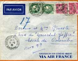 406 416 Mercure 375 Ceres Paire Tarif 5.75F Par Avion Pour Ceylan Escale De Colombo Marseille St Barnabé Maréchal Joffre - Postmark Collection (Covers)