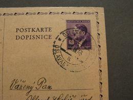 BM Karte Ivancice , Oslavan  Bahnpost ?  1943 - Boemia E Moravia