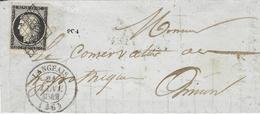 21 JANV. 1849- DEVANT ( Front ) De Lettre De LANGEAIS  ( Indre Et Loire ) Cad T14 Affr. N°3  ( 4 Marges ) Oblit. Grille - 1849-1876: Période Classique