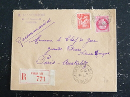 PARIS XIX AVENUE DE LAUMIERE - CACHET ROND MANUEL LETTRE RECOMMANDEE SUR TYPES IRIS ET CERES - Marcophilie (Lettres)