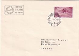 SUISSE 1947 LETTRE AVEC CACHET BUREAU POSTE AUTOMOBILE DE MONTREUX - Brieven En Documenten