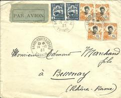 Sur Enveloppe Avec Vignette PAR AVION -Cachet De HANOI-CHATEAUD'EAU-Tonkin- 1937 - - Indocina (1889-1945)