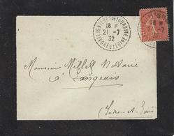 1932- Enveloppe Affr. 50 C Semeuse Oblit. Cad Facteur Receveur 1 Cercle Point. De Lignières De Touraine ( Indre Et Loire - Storia Postale