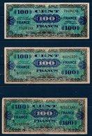 "FR Lot De 3 Billets De 100 Fr  Type Verso ""France""   Série 3, Série 6 Et Sans N° De Série - 1945 Verso Francia"