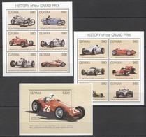 PK343 GUYANA AUTO RACING CARS HISTORY OF THE GRAND PRIX 2KB+1BL MNH - Cars