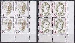 BRD, 1991,  Nr. 1488-1489 ** Frauen Der Deutschen Geschichte (XI), 2 Viererblöcke Mit Eckrand Unten Rechts - Nuovi