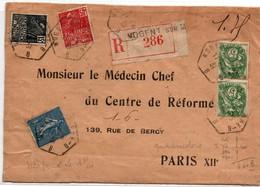 Nogent-sur-Marne 1931 - Lettre Recommandée Avec étiquette Sur Semeuse Blanc Et Femme Fachi - Marcophilie (Lettres)