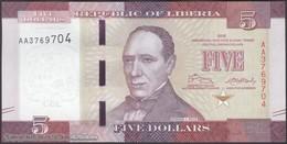 TWN - LIBERIA 31 - 5 Dollars 2016 Prefix AA UNC - Liberia