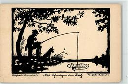 52491163 - Angeln Hund Scherenschnitt - Autres Illustrateurs