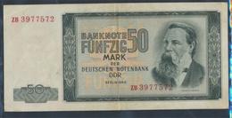 DDR Rosengb: 357b, Kontrollnummer 7stellig, Ersatznote Gebraucht (III) 1964 50 Mark (9398350 - 50 Deutsche Mark