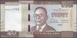 TWN - LIBERIA 33a - 20 Dollars 2016 Prefix AA UNC - Liberia