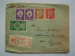 ENVELOPPE Ancienne 1940 : RECOMMANDE PORTUGAL Via PAPEETE / TAHITI / OCEANIE - 1910-... République