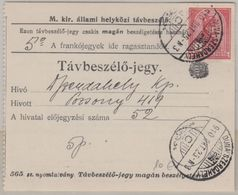 Ungarn/Slowakei - 1 K. Franz-Joseph Telefonquittung Dunaszerdahely 1910 - Ohne Zuordnung