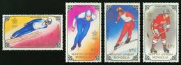 497- Mongolie 1988  YT 1628/31 ; Mi# 2015/18 ** MNH Jeux Olympiques D'hiver - Mongolia