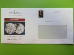 Enveloppe - Destinéo - Société Française Des Monnaies - Charles De Gaulle - Pièce 10 € - 2020 - Postal Stamped Stationery