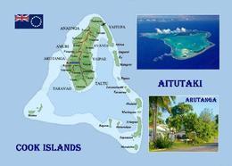 Cook Islands Aitutaki Atoll Map New Postcard Cookinseln Landkarte AK - Cook