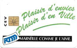 CARTE A PUCE CHIP CARD CEV MARSEILLE COMME JE L'AIME PUBLICITÉ RTM RÉGIE TRANSPORTS - France