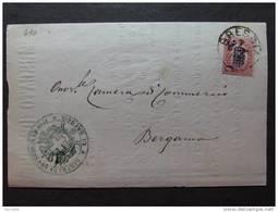 """490 ITALIA Regno-1878- """"Ondine"""" C. 2 Su 0,30 BRESCIA>BERGAMO (descrizione) - 1861-78 Vittorio Emanuele II"""