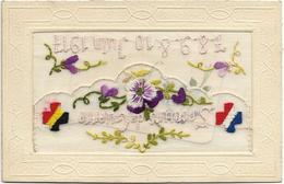 CPA CARTE FANTAISIE MILITAIRE BRODEE SOUVENIR DE GUERRE DRAPEAU FRANCE ALLEMAGNE 7/8/9//10 JUIN 1917 - Brodées