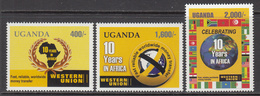 2006 Uganda Western Union Flags Complete Set Of 3 MNH - Uganda (1962-...)