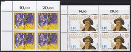 BRD, 1992, Nr. 1600, 1607 ** 2 Viererblöcke Mit Oberem Eckrand - Nuovi