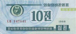 COREE DU NORD 10 CHON 1988 UNC P 25 - Corée Du Nord