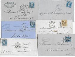 EMPIRE - LOT De 6 LETTRES COMPLETES Des BUREAUX De PARIS - Marcophilie (Lettres)