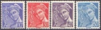 France N°  546 à 549 ** Type Mercure - 10 30 40 Et 50 Centimes - Légende Poste Française - Unused Stamps