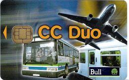 CARTE A PUCE CHIP CARD CARTE TRANSPORT CARTE ESSAI TEST TRANSPORTS DIVERS TRAIN AVION AUTOBUS CC DUO BULL - Autres